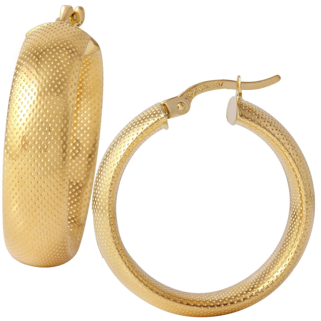 14k Yellow Gold Diamond Cut Hollow Hoop Earrings - Bee Jewels