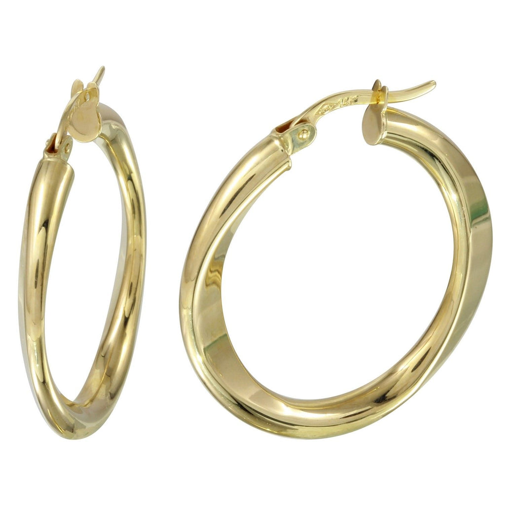 14k Yellow Gold Flat Hoop Earrings - Bee Jewels