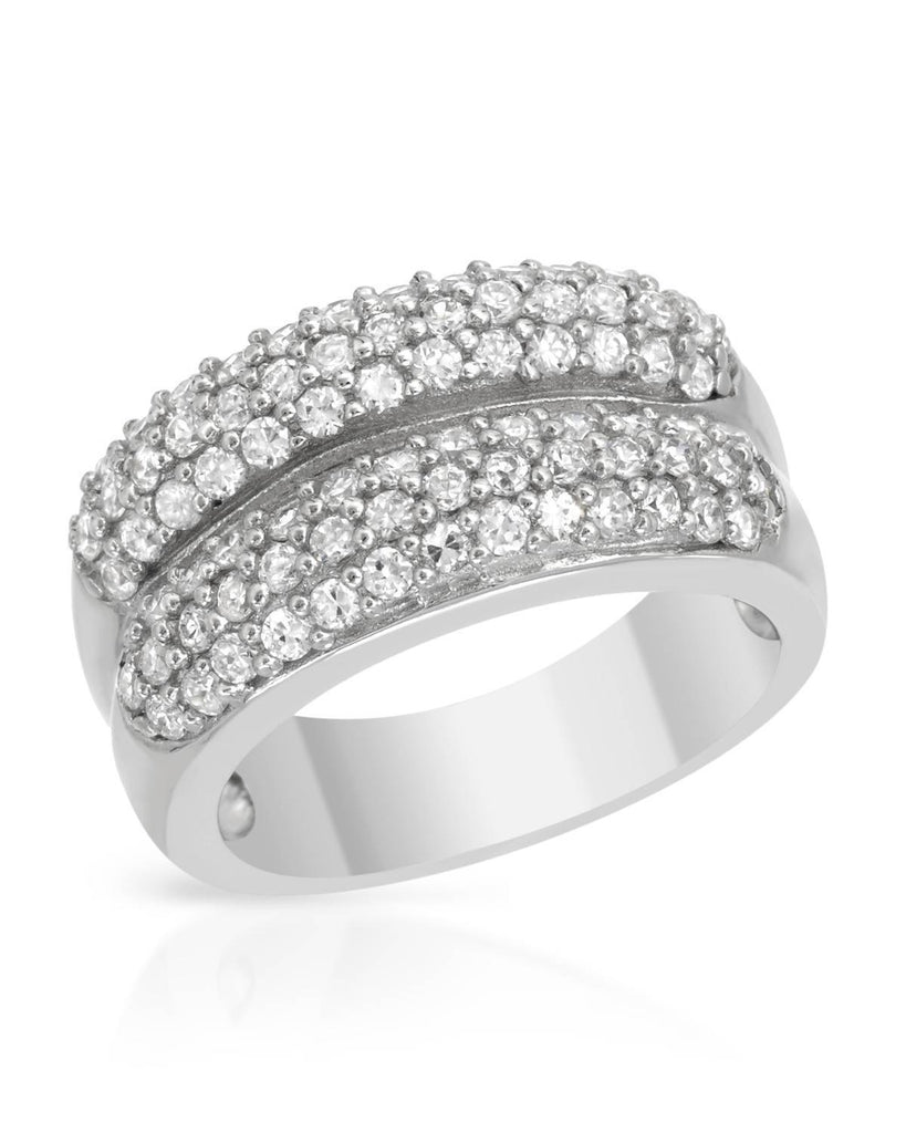 Double Bangles CZ Sterling Silver Ring