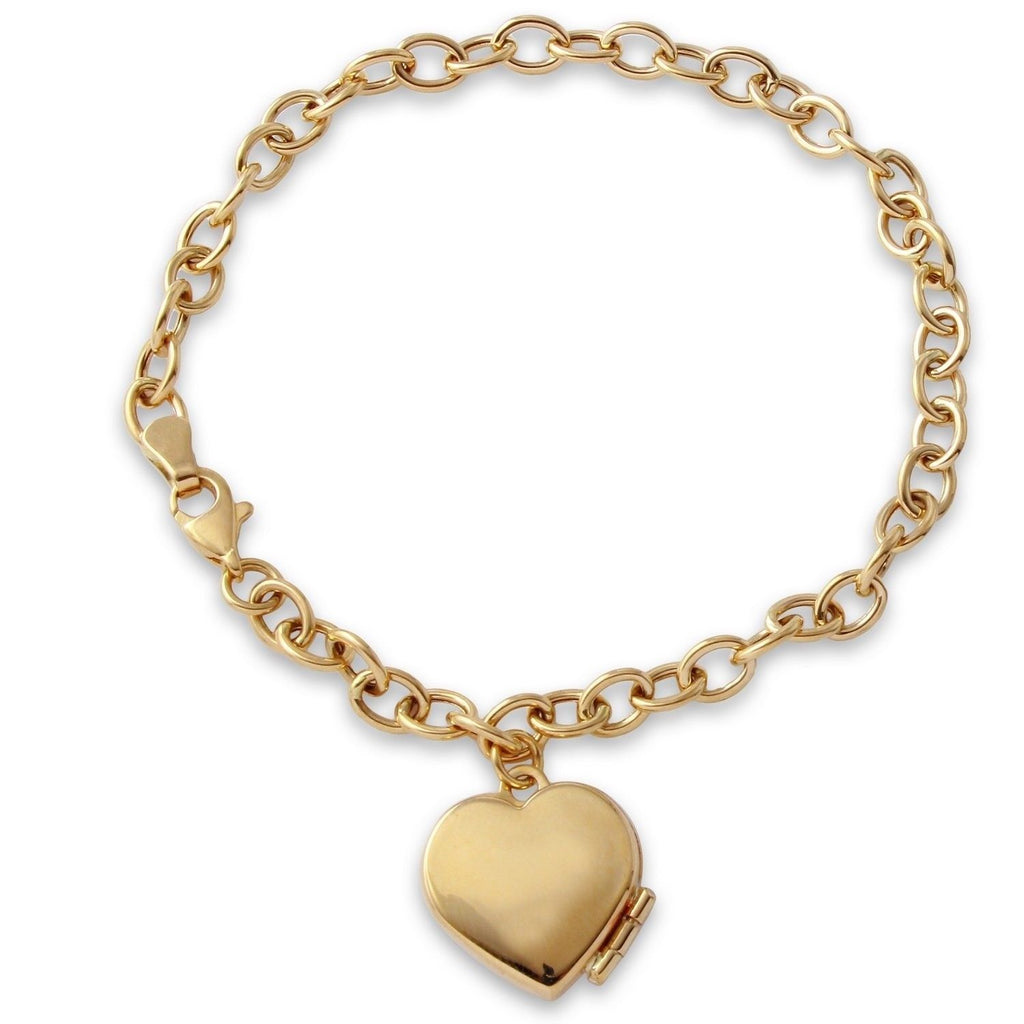 14k Yellow Gold High Polish Heart Locket Bracelet, 7.5""