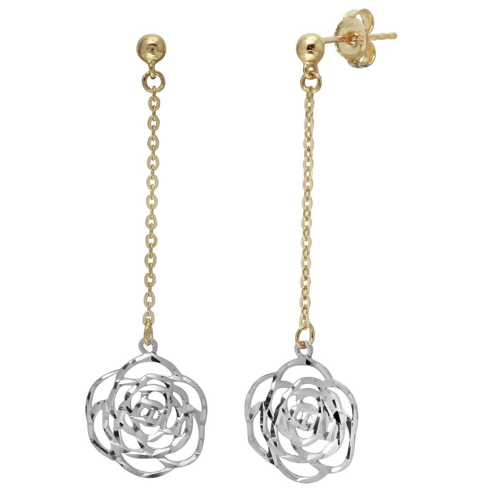 14k Two-Tone Gold Floral Dangling Earrings