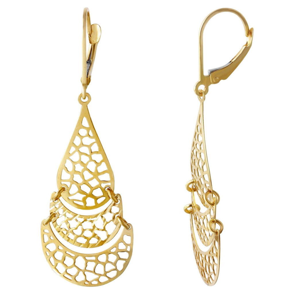 14K Yellow Gold Chandelier Love Earrings - Bee Jewels