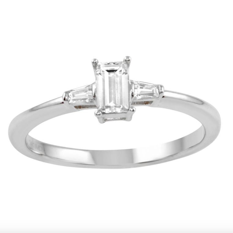 14k Gold CZ Baguette Three-Stone Wedding Engagement - Bee Jewels