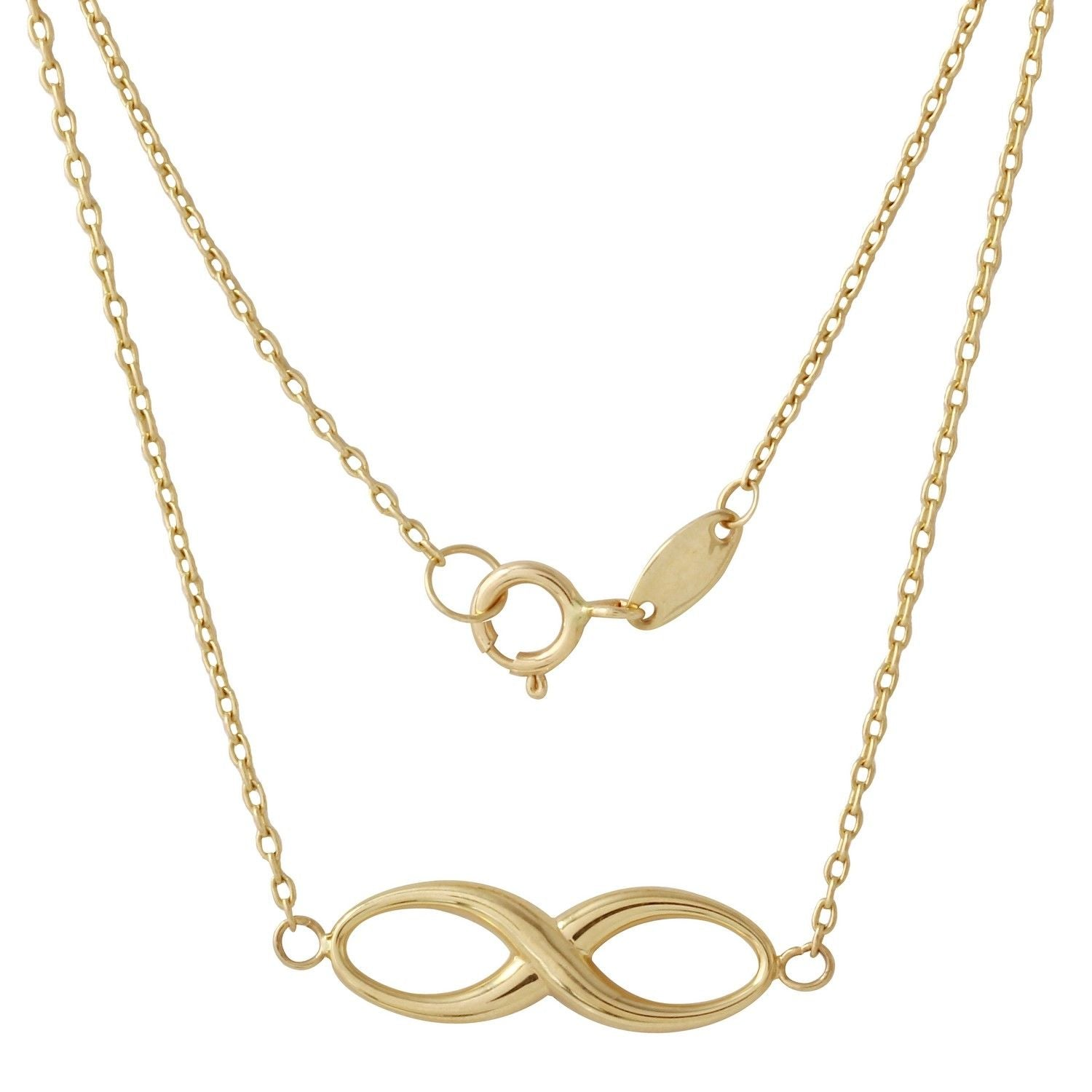 14k Yellow Gold Infinity Pendant Necklace, 18