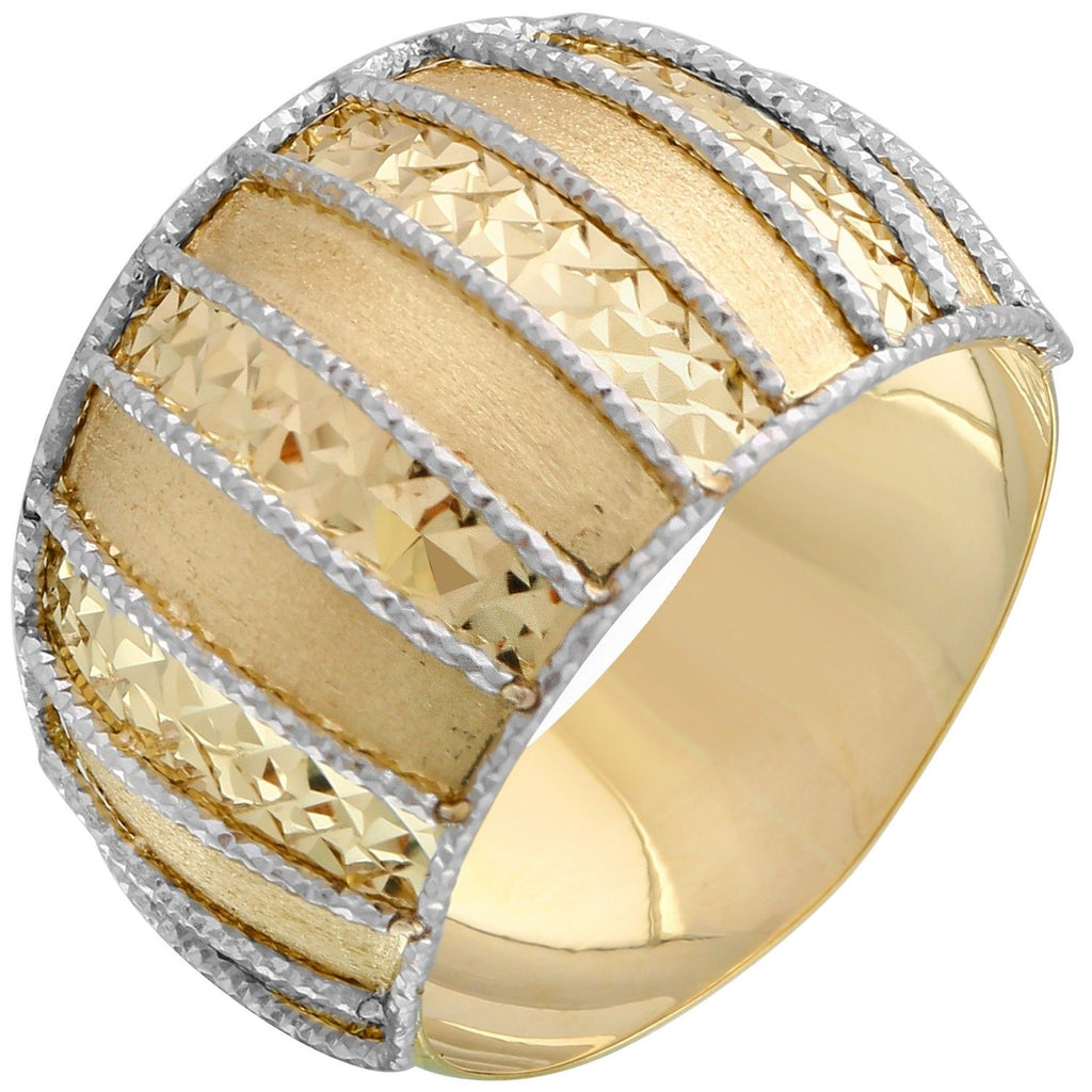 14k White and Yellow Gold Diamond-Cut Stripe Ring, Size 7