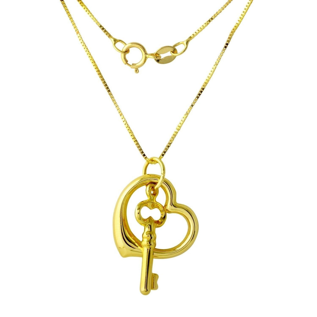 14k Yellow Gold Heart and Key Pendant Necklace, 18""