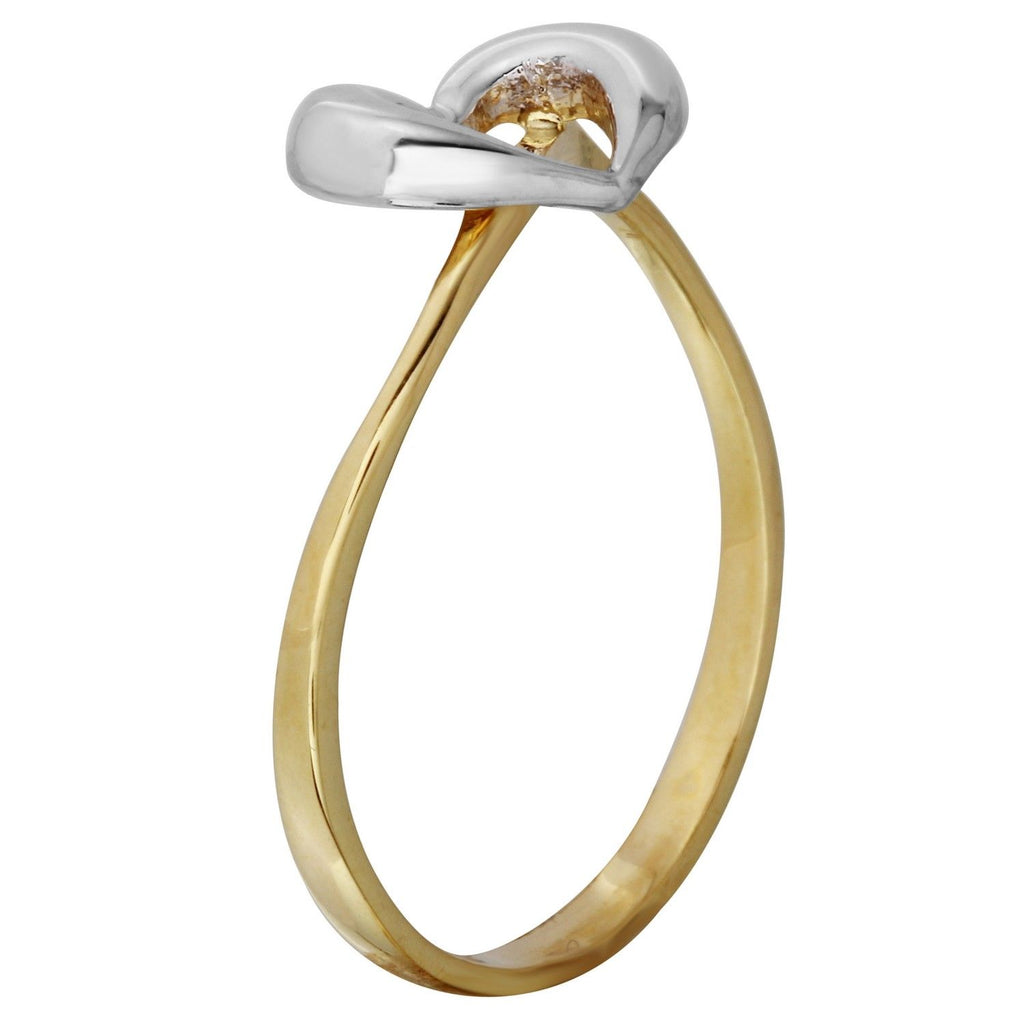14k Two-Tone Gold Heart Ladies Ring, Size 7