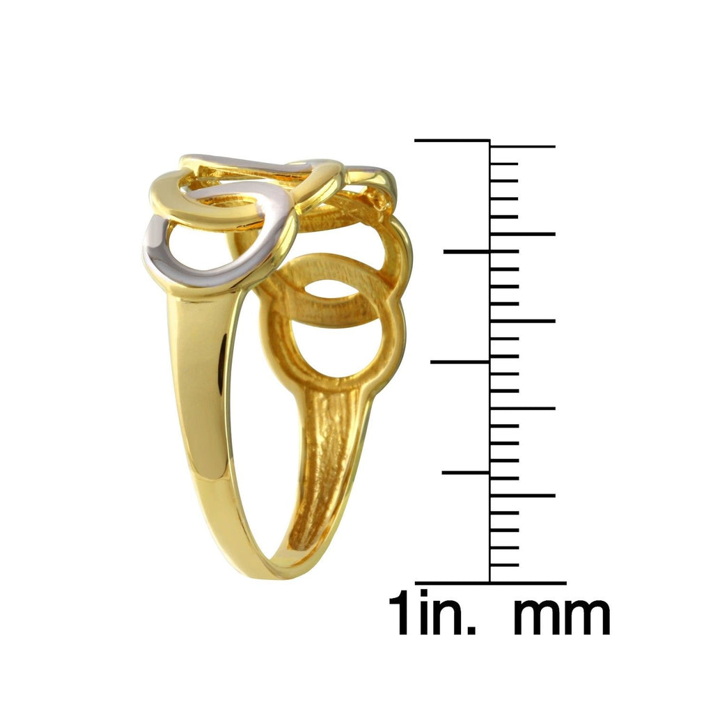 14k Two-Tone Gold Circles Ring, Size 7