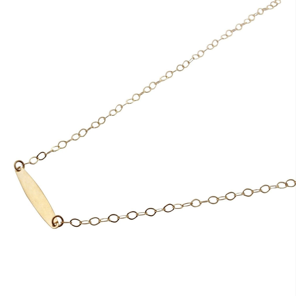 "14k Italian Yellow Gold Adjustable Bar Pendant Necklace, 16""+18"" Extender - Bee Jewels"