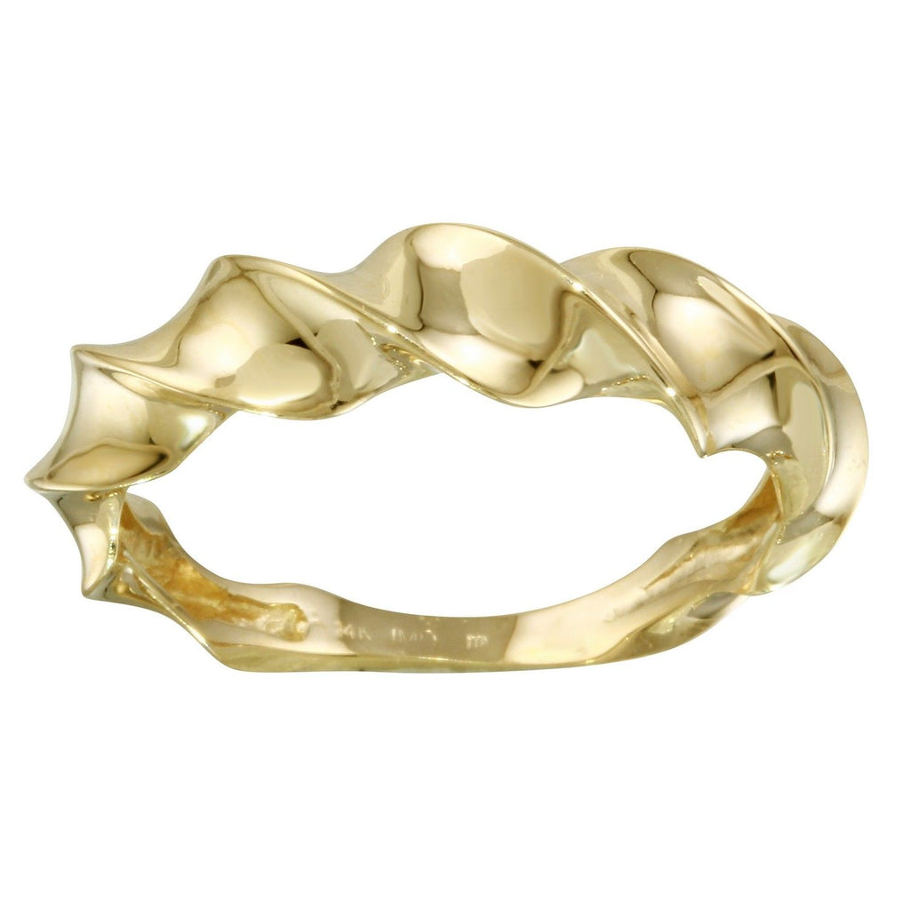14k Yellow Gold Italian Twisted Tidal Wave Ring, Size 7