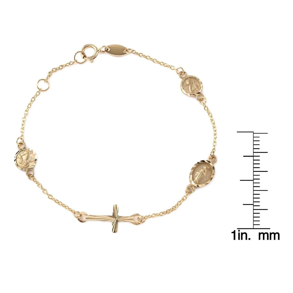 Girls' 14k Yellow Gold Miraculous Medal, Angel and Cross Bracelet, 6""