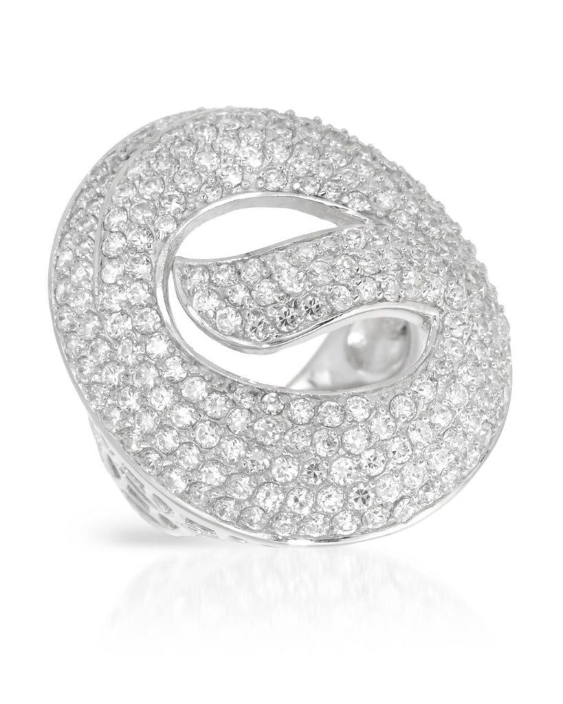 Puffy Circle Wave Ring CZ Sterling Silver