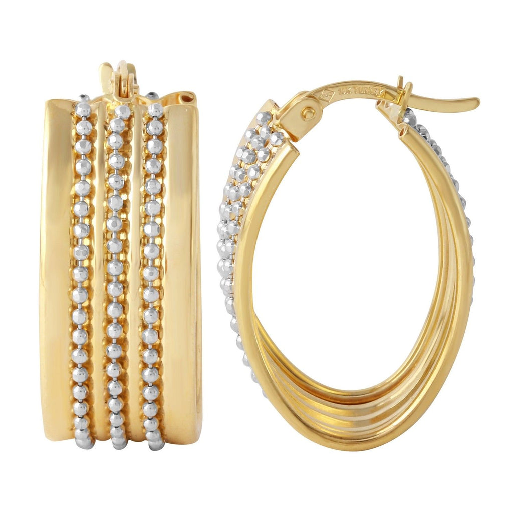 14K Two-Tone Gold Beaded Hoop Earrings