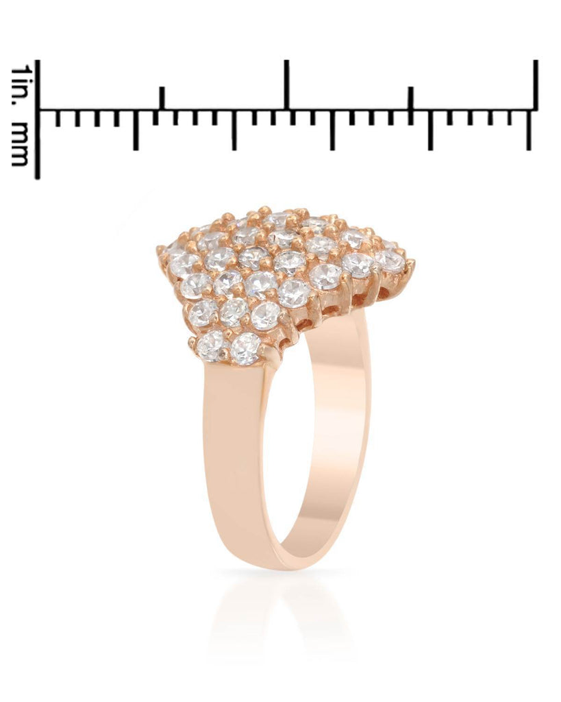 CZ Rhombus Cluster RING in rose gold colored Sterling Silver