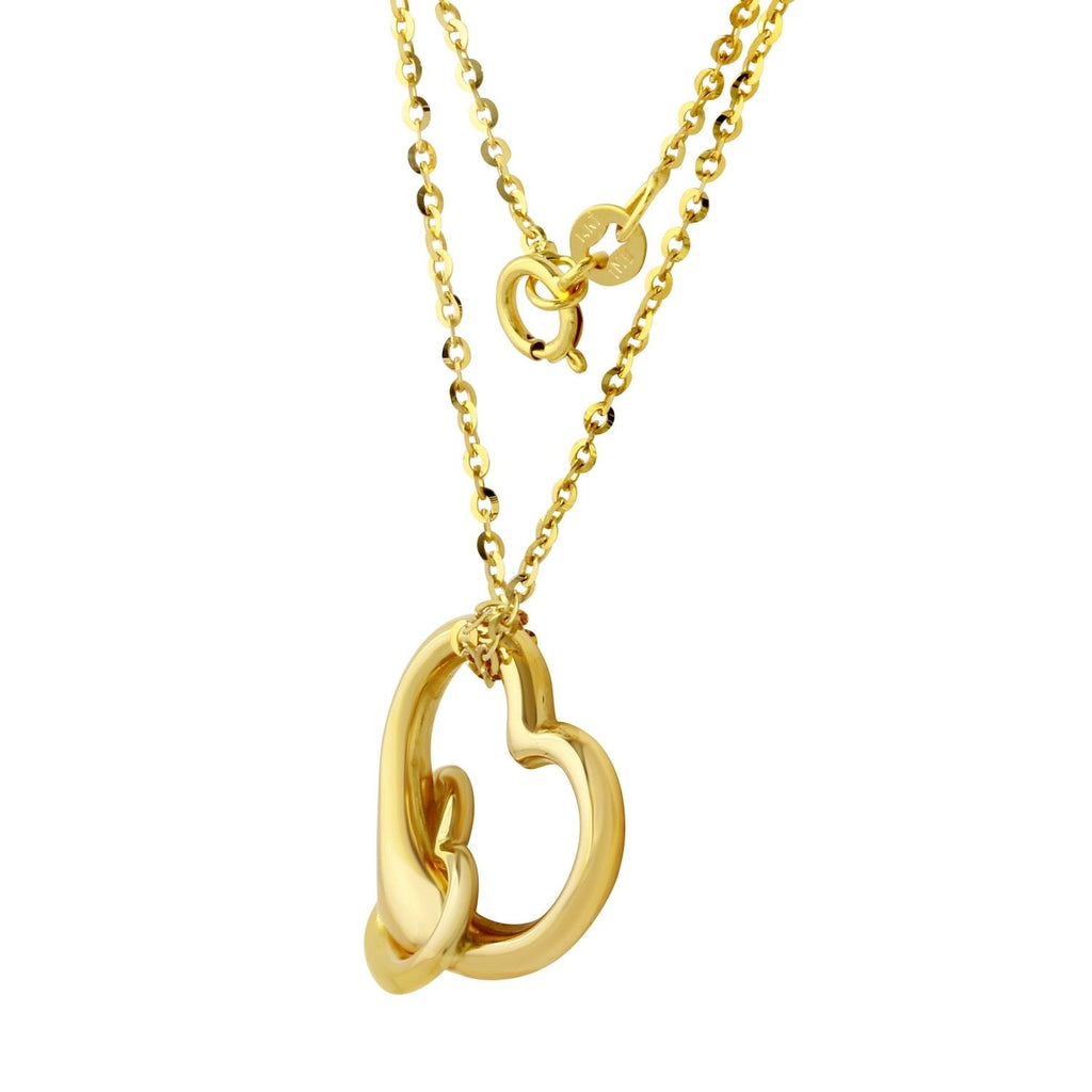 "14k Gold Double Heart Pendant Necklace, 16"" - Bee Jewels"