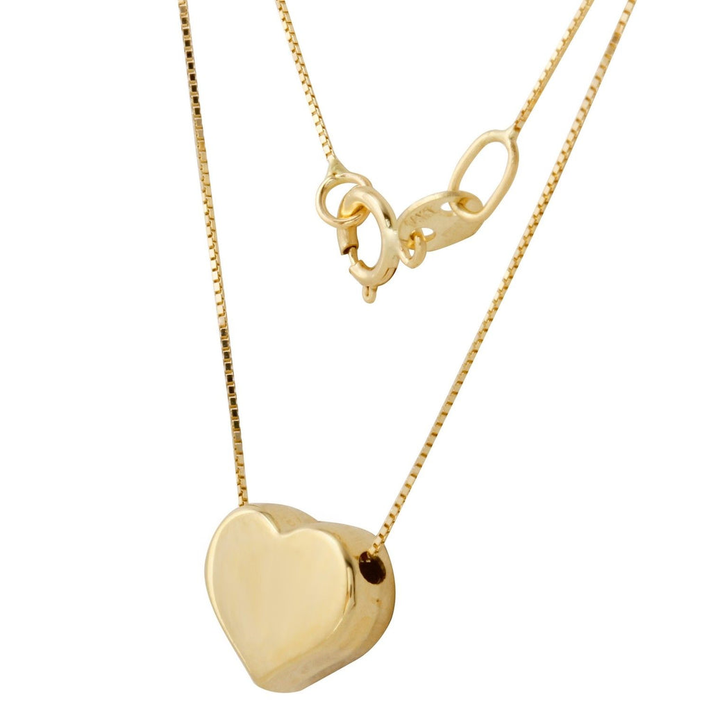 14k Yellow Gold Italian Box Chain Heart Necklace, 16""