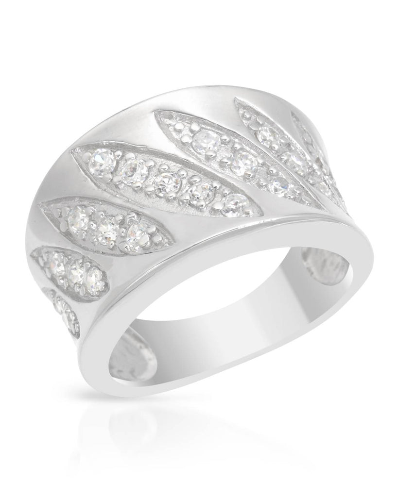 Sterling Silver Cubic Zirconia Slanted Design Ring