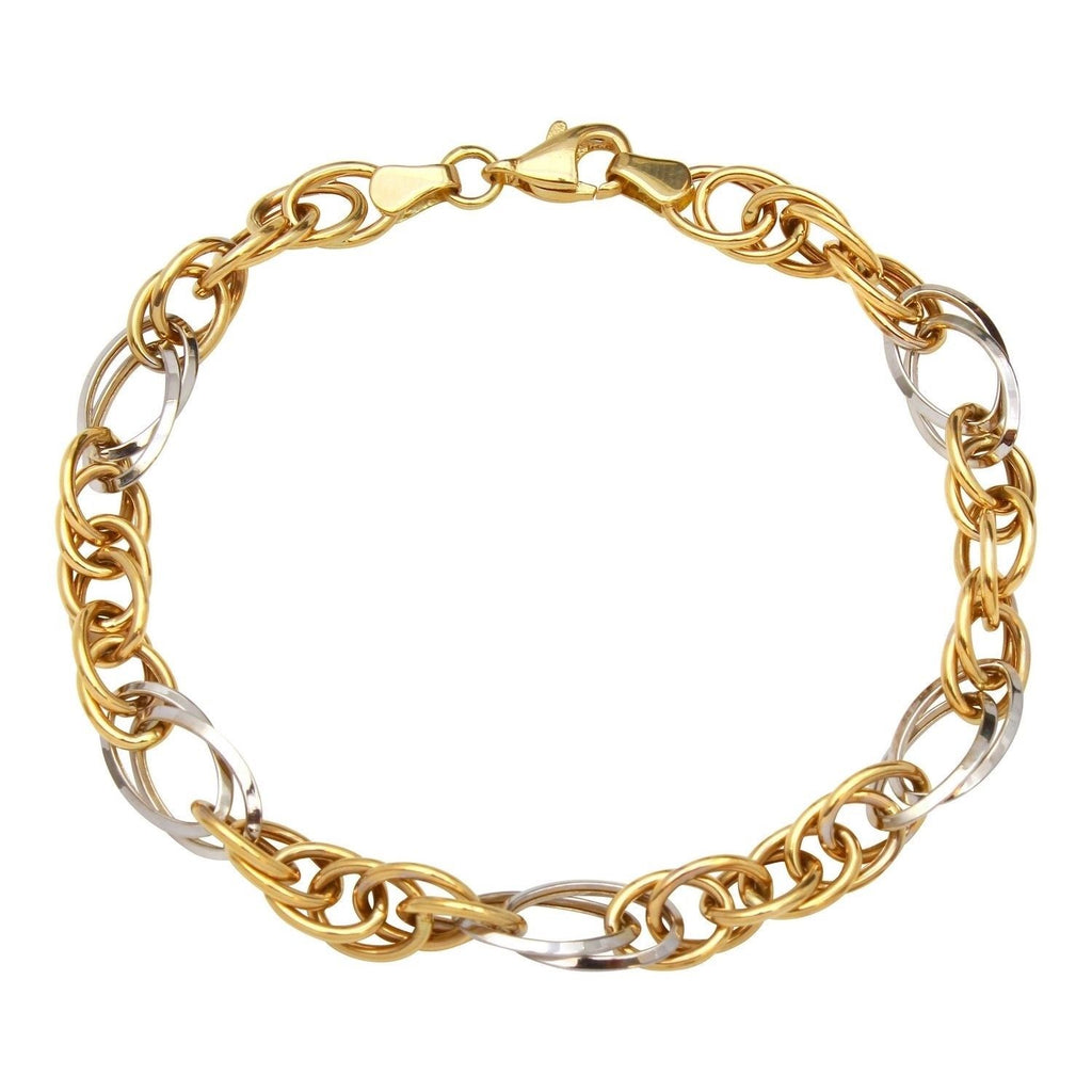 14k Two-Tone Gold Intricate Link Bracelet, 7.25""