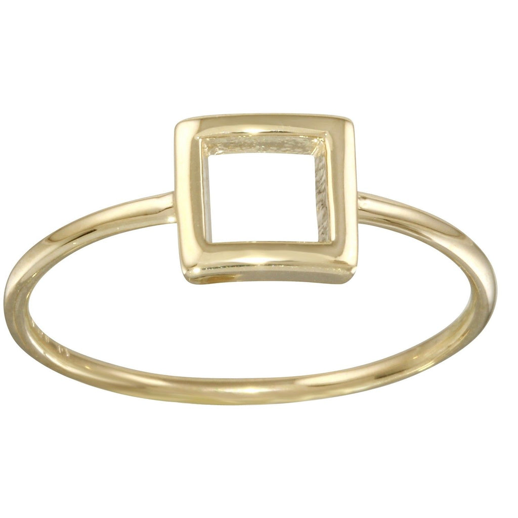 14k Yellow Gold Italian Square Stacking Ring, Size 7