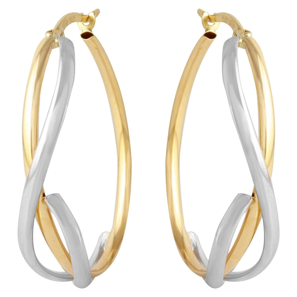 14k Yellow and White Gold Twist Oval Hoop Earrings