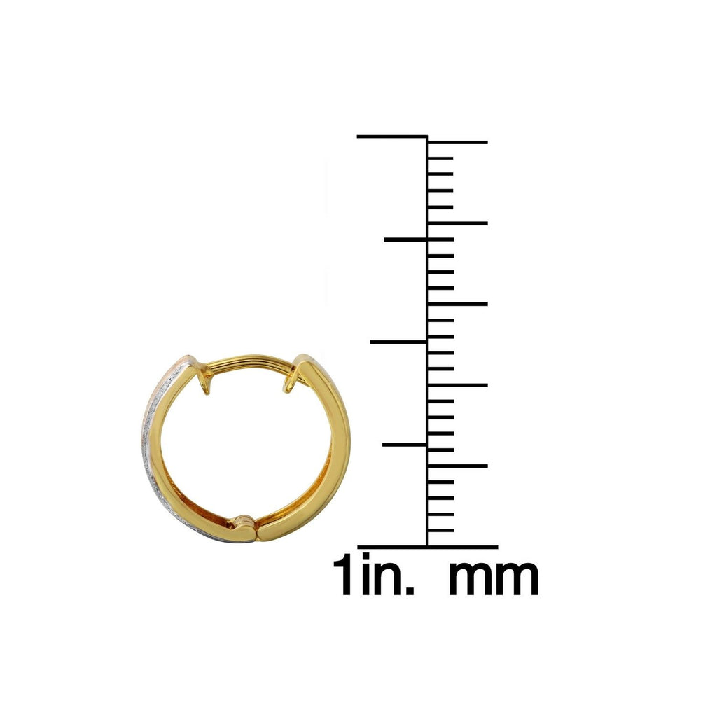 14k Tri-Color Gold Huggie Earrings
