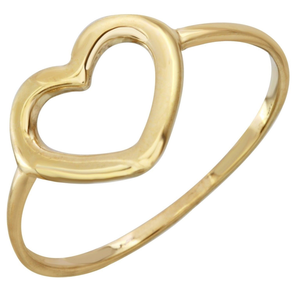 14k Yellow Gold Italian Heart Ring, Size 7