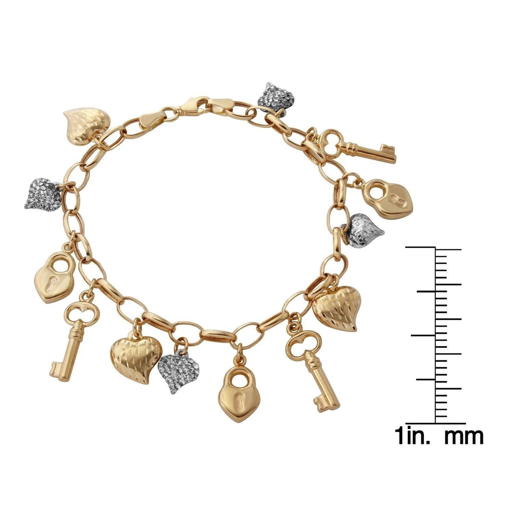 14k Two-Tone Gold Heart Lock and Key Link Charm Bracelet, 7.25""