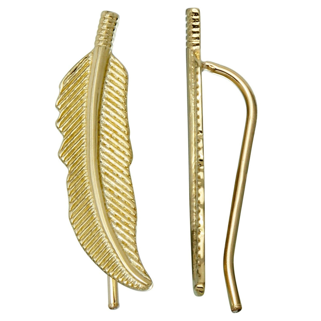 14k Yellow Gold Feather French Hook Earrings - Bee Jewels