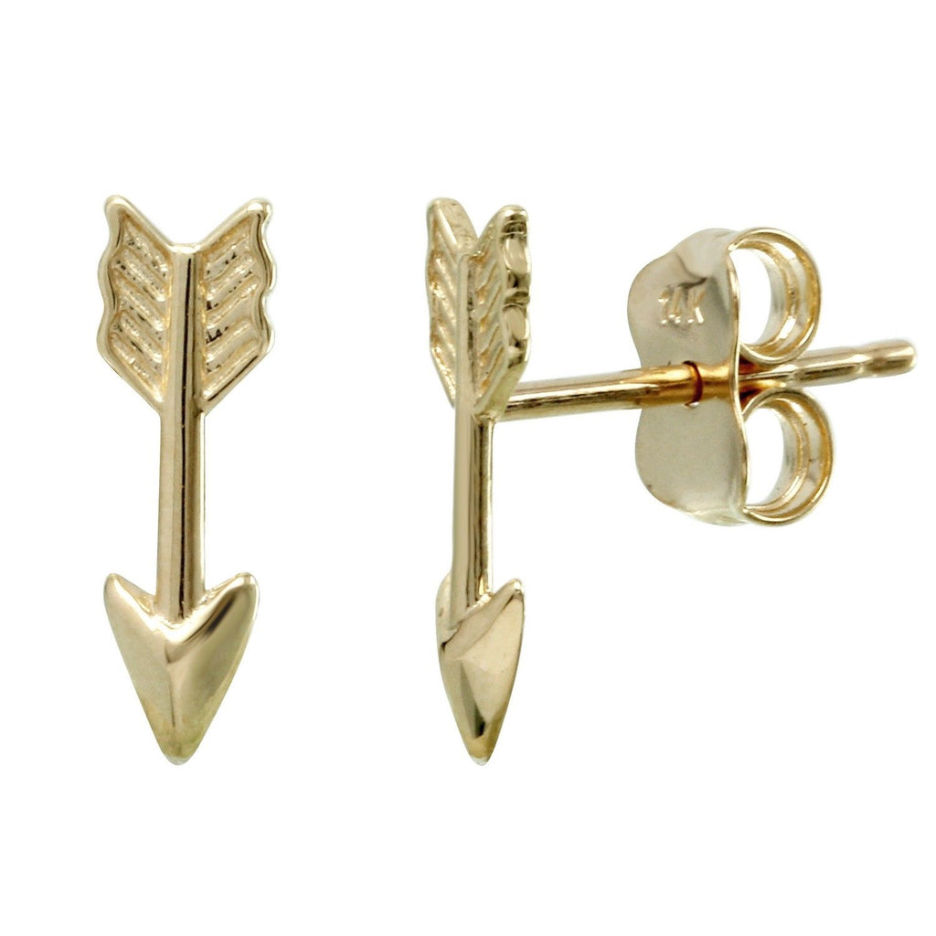 14k Yellow Gold Arrow Stud Earrings - Bee Jewels