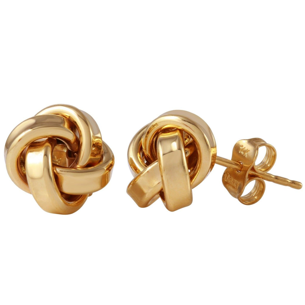14k Yellow Gold Double Knot Stud Earrings - Bee Jewels