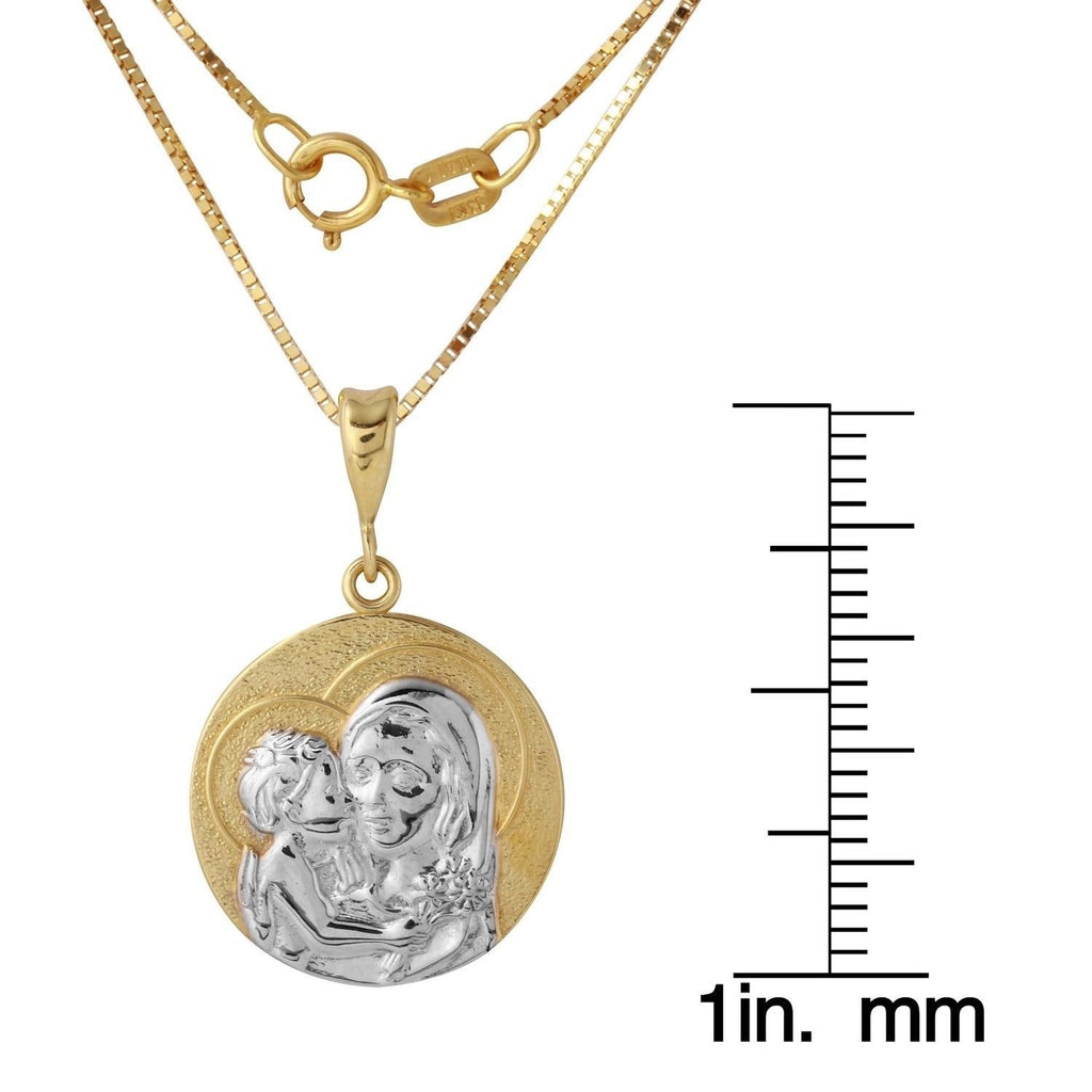 14k Two-Tone Gold Mama Mary and Baby Jesus Medal Necklace, 18""