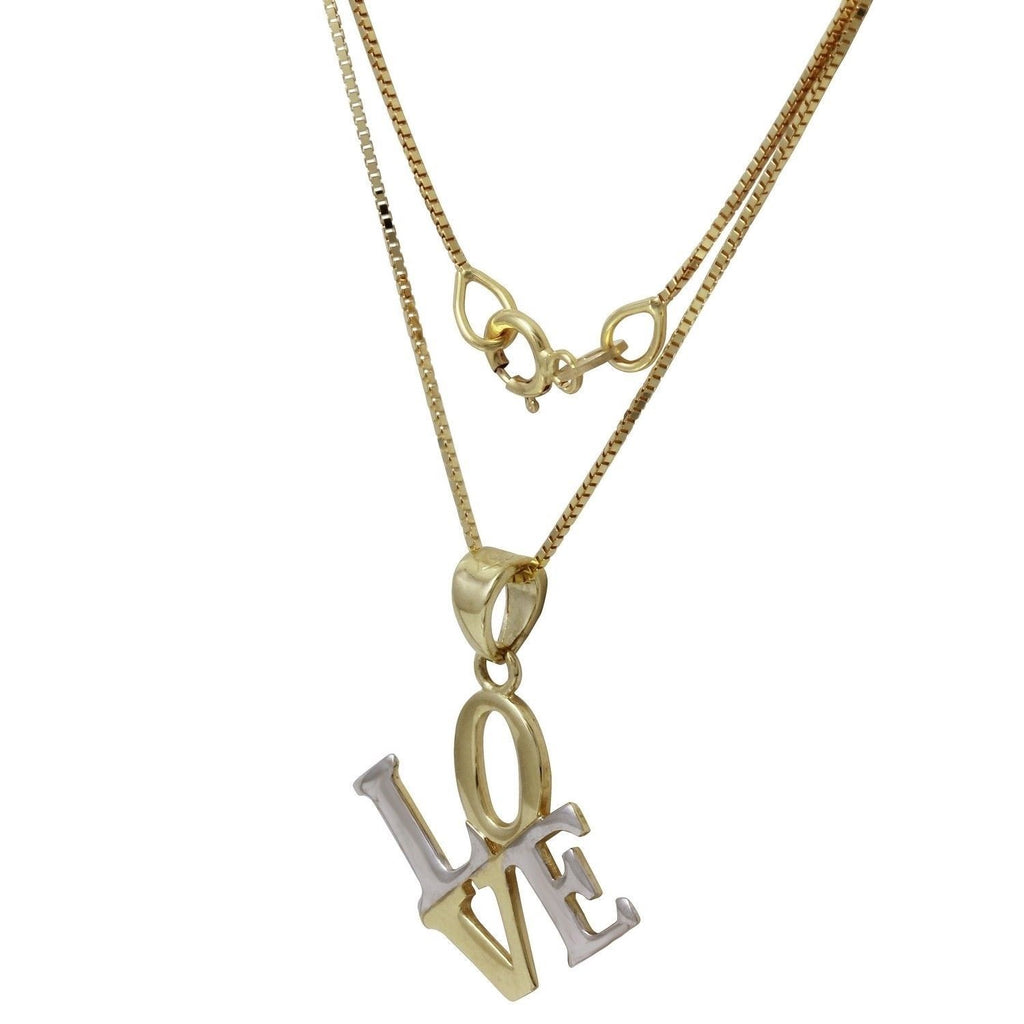 14k Two-Tone Gold Love Pendant Necklace, 18""