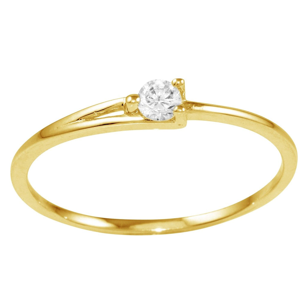 14k Gold CZ Round Brilliant Cut Promise Solitaire Engagement Ring - Bee Jewels