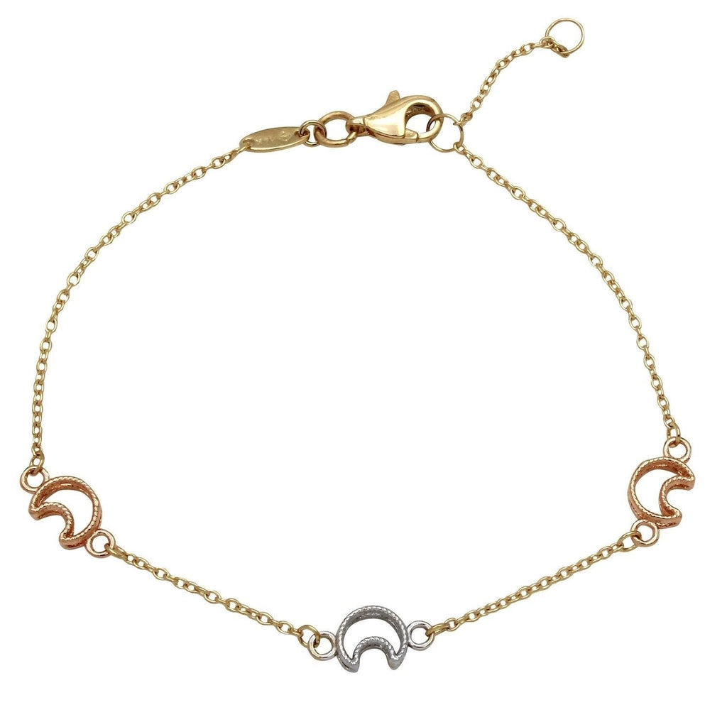 14k Tri-Color Gold Half-Moon Charm Bracelet, 7.25""