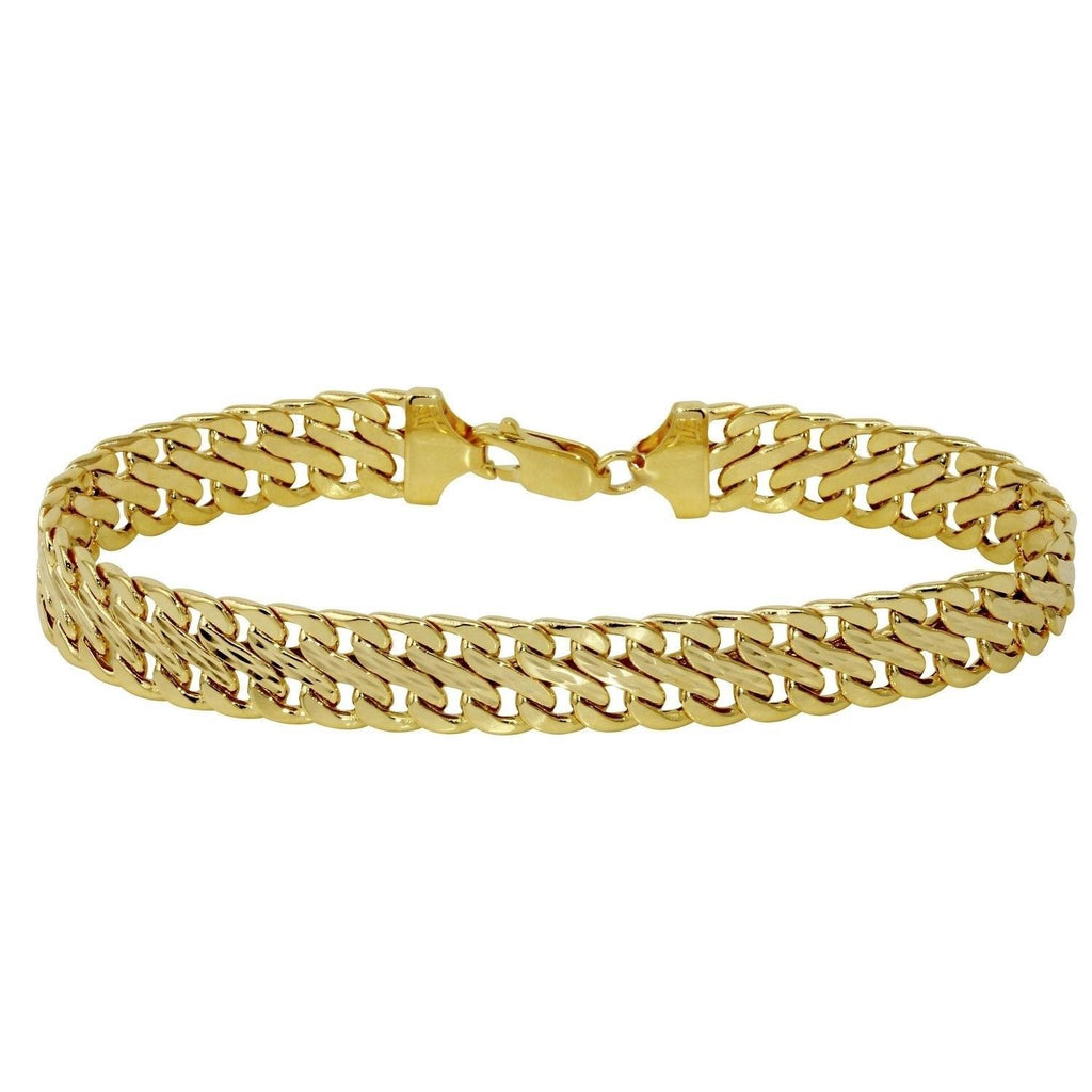 14k Yellow Gold Italian 9.0mm Fancy Stamp Bracelet, 7.5""