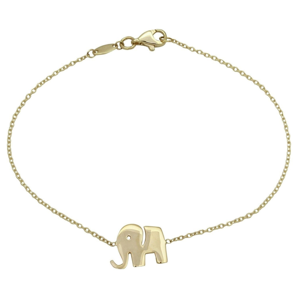 14k Yellow Gold High Polish Elephant Bracelet, 7.25""