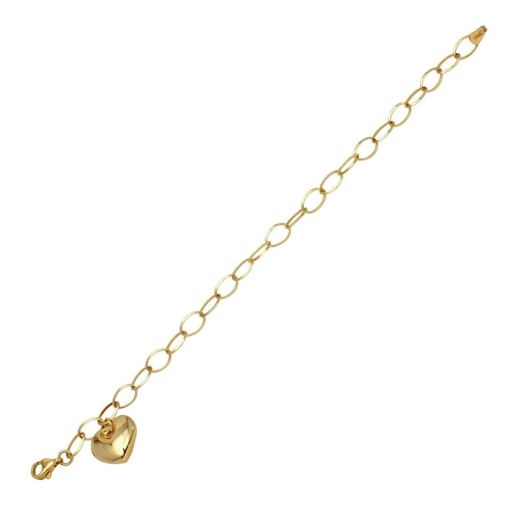 14k Yellow Gold Heart Charm Bracelet, 7.25""