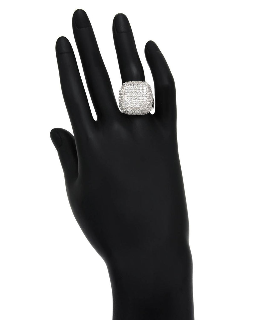 Puffy Square Pave Ring CZ Sterling Silver