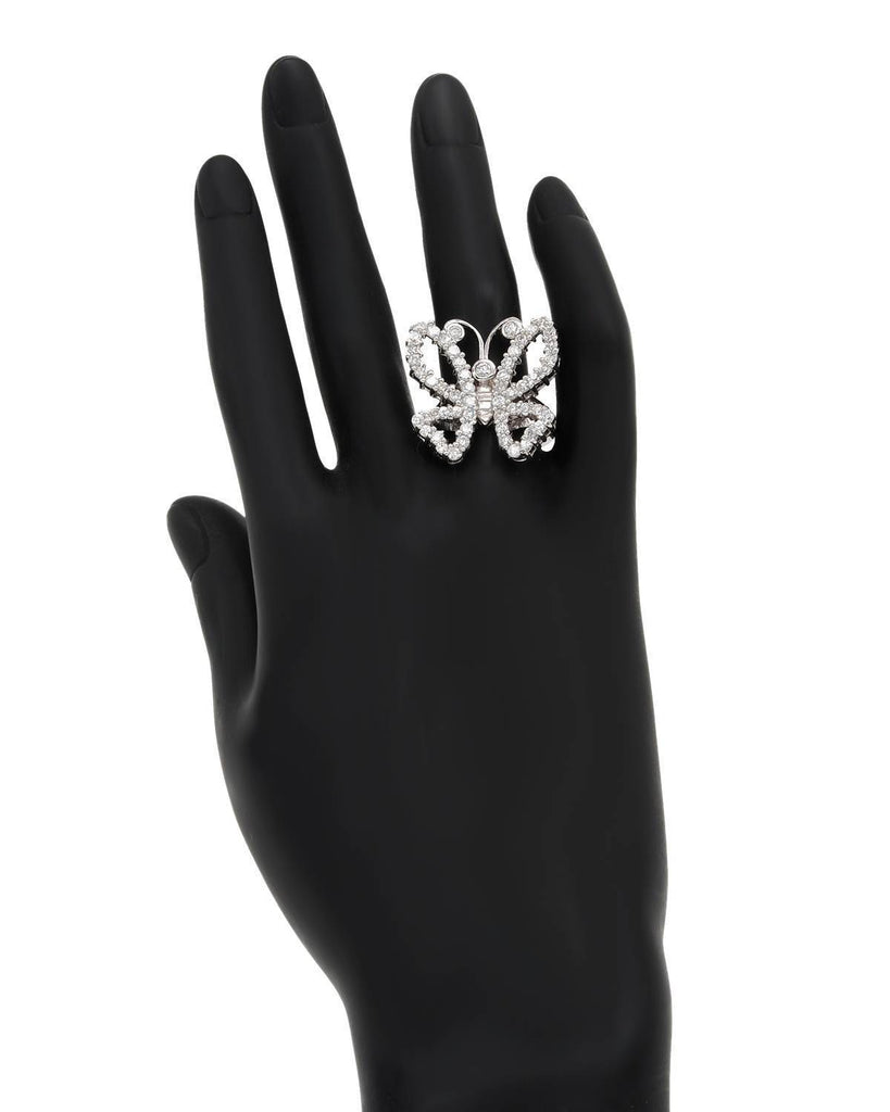 Bold Brilliant Butterfly Ring CZ Sterling Silver