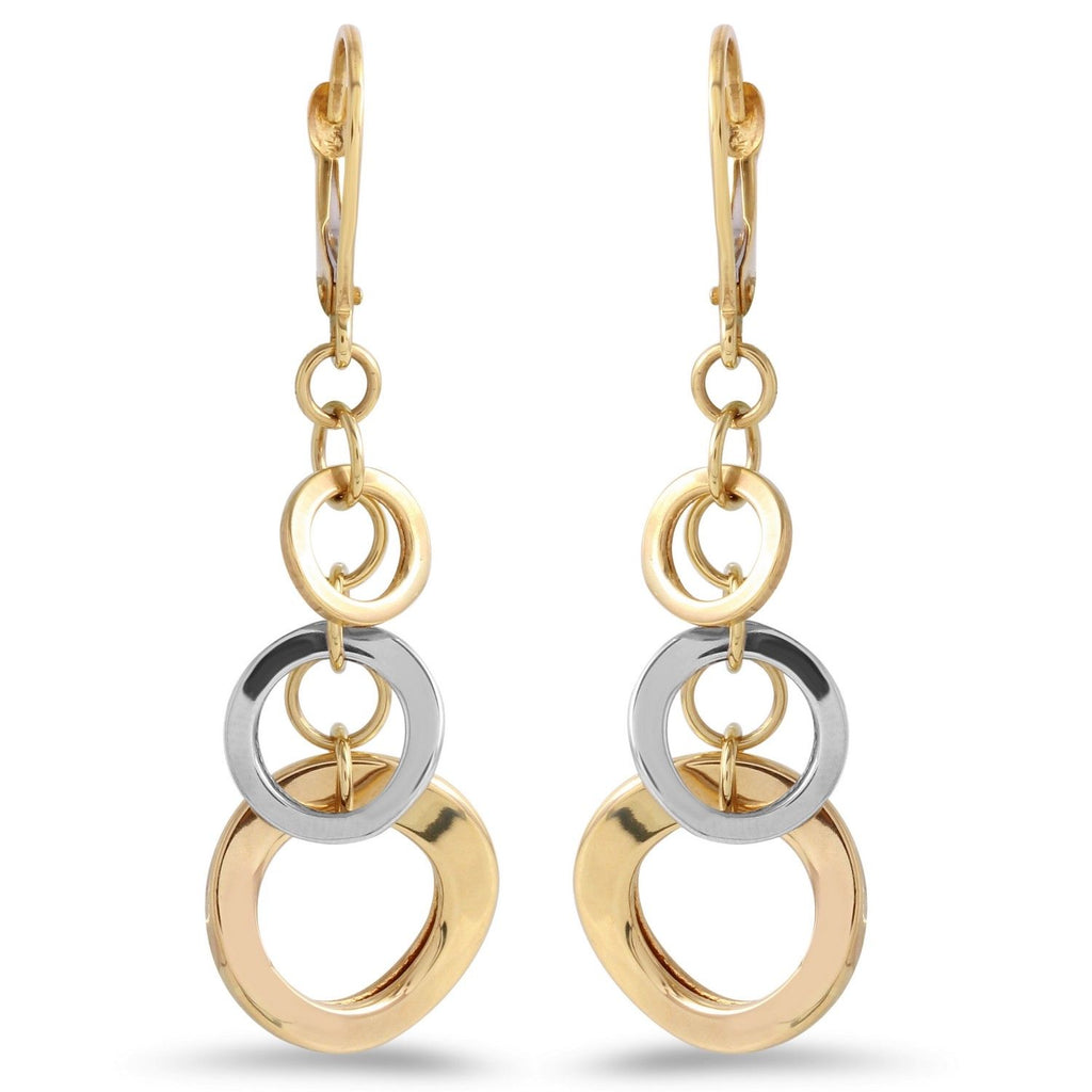 14k Two-Tone Gold Dangle Earrings