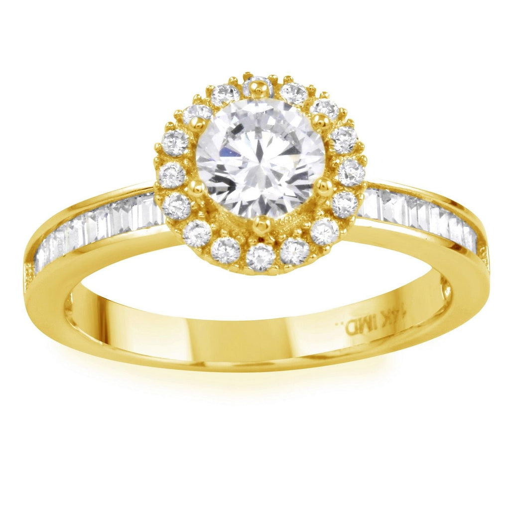 14k Gold CZ Round Brilliant Halo Channel Baguette Engagement Wedding Ring - Bee Jewels