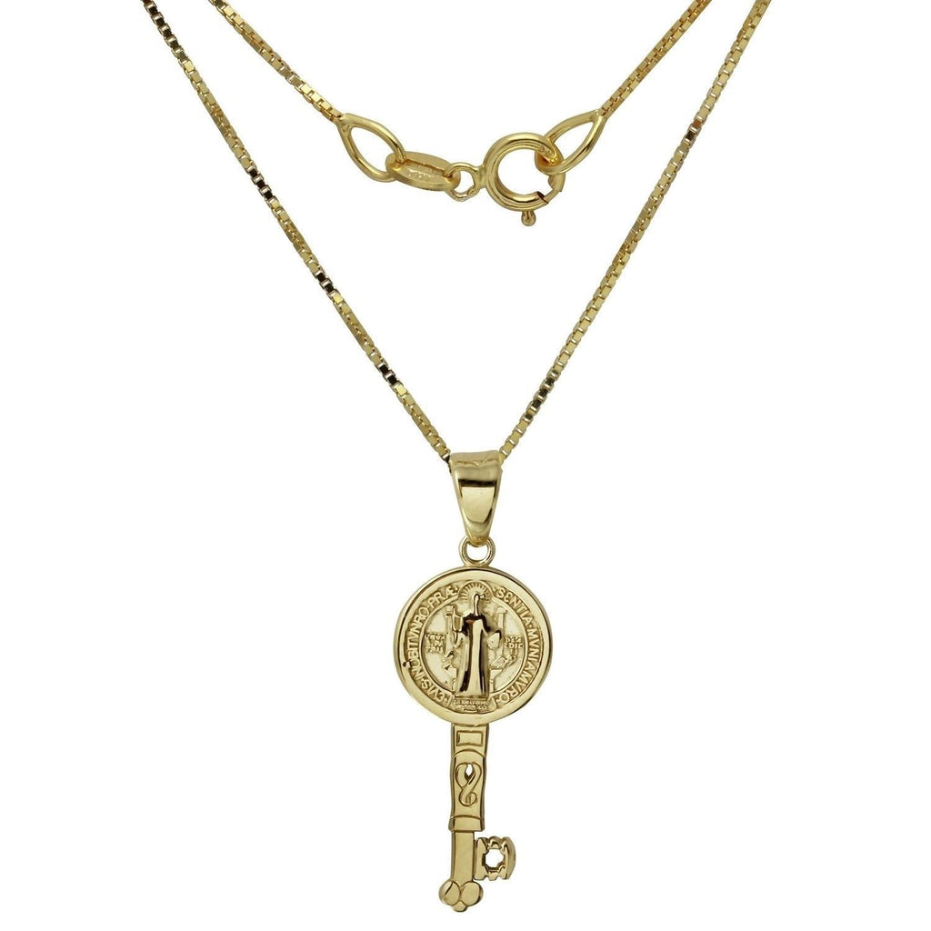 14k Yellow Gold Saint Benedict Key Reversible Pendant Necklace, 18""