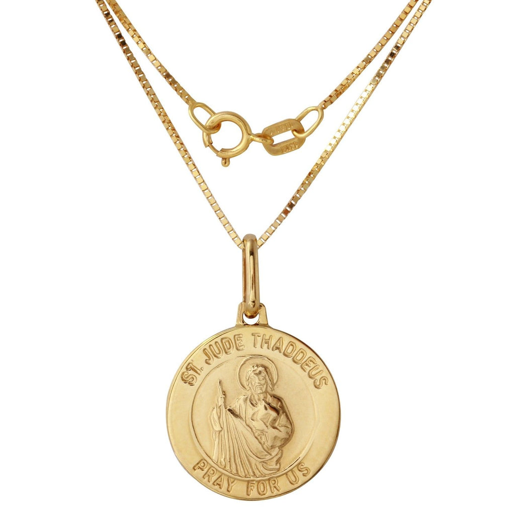 14k Yellow Gold Saint Jude Thaddeus Medal, 18""
