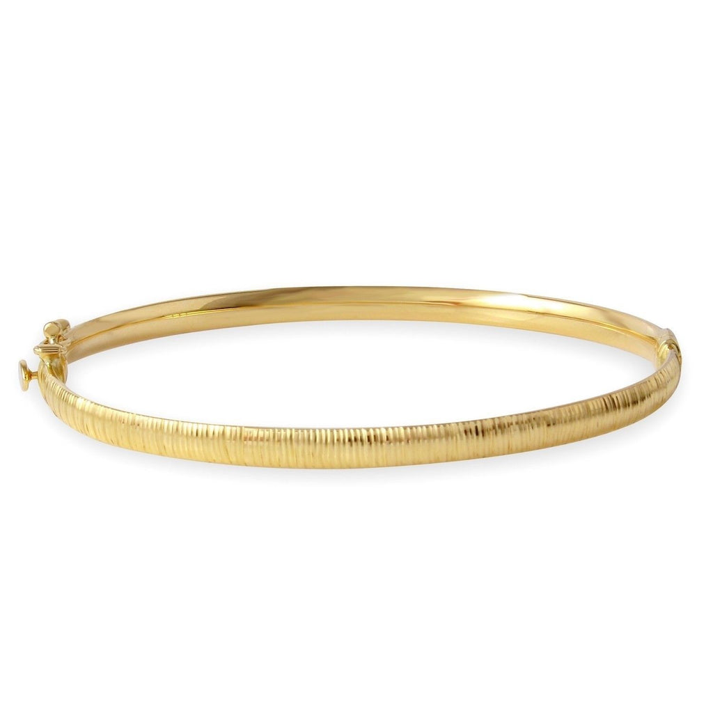 14k Yellow Gold Diamond-Cut Bangle Bracelet - Bee Jewels