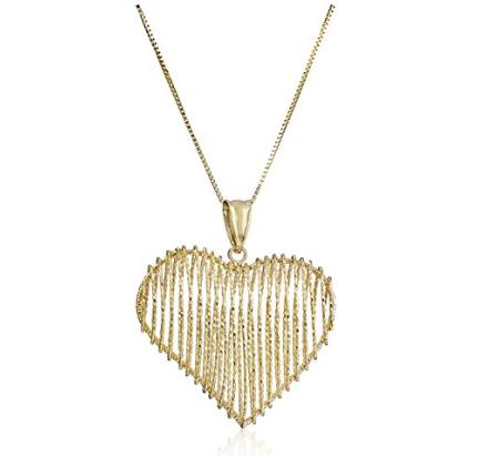 14k Yellow Gold Puffy Design Heart Pendant Necklace, 18""