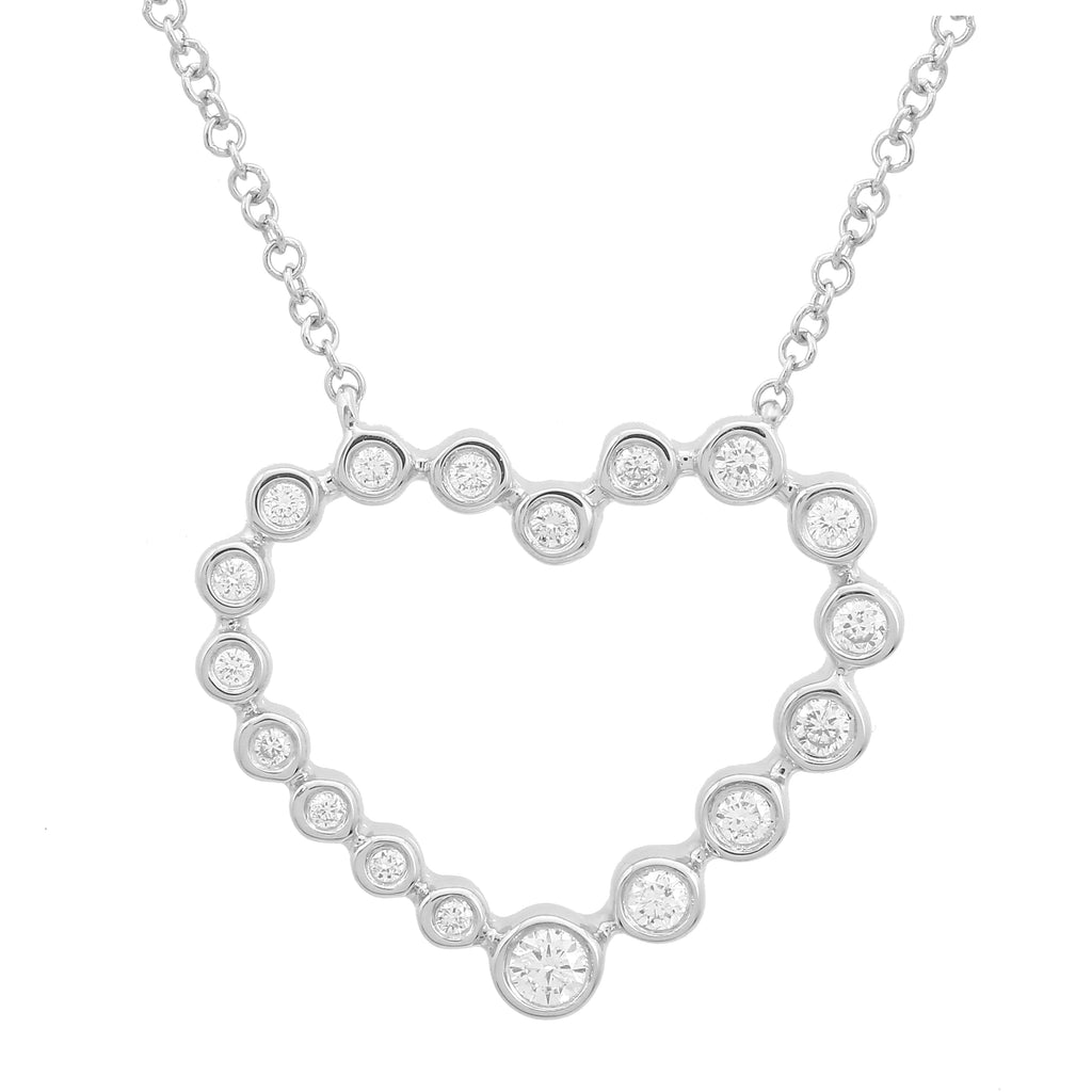"14k White Gold Diamond Bezel Open Heart Pendant Necklace (1/5 cttw, J-K Color, SI2-I1 Clarity), 16+2"" Extender"