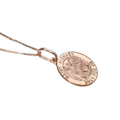 14k Gold Italian Saint Michael Prayer Pendant Necklace, 18""