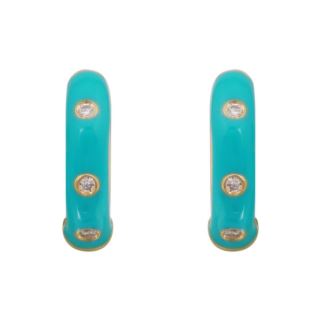 14k Yellow Gold Diamond Turquoise Enamel Hoop Earrings (1/20 cttw, Color, Clairty) 11mm Diameter