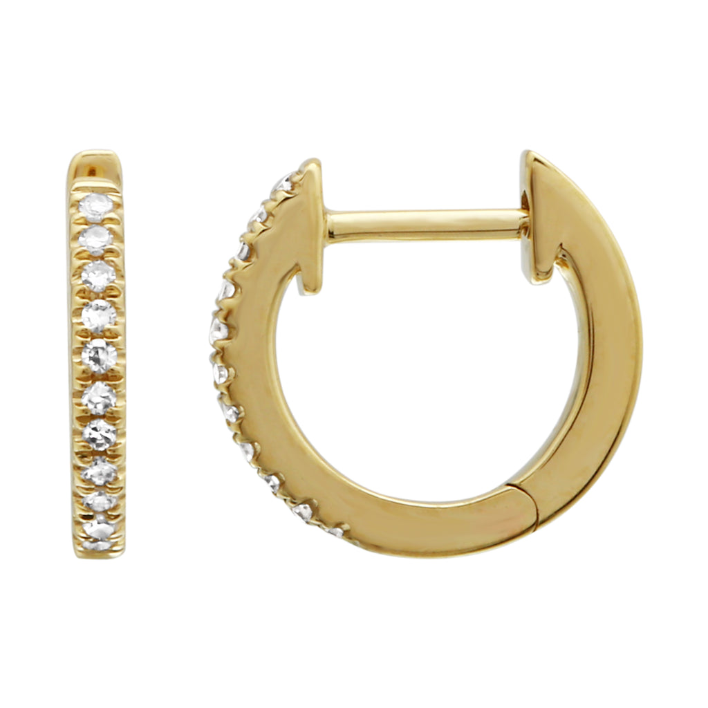 14k Yellow Gold Diamond Pave Hoop Earrings (0.05 cttw, H-I Color, I1-I2 Clarity), 6mm Diameter