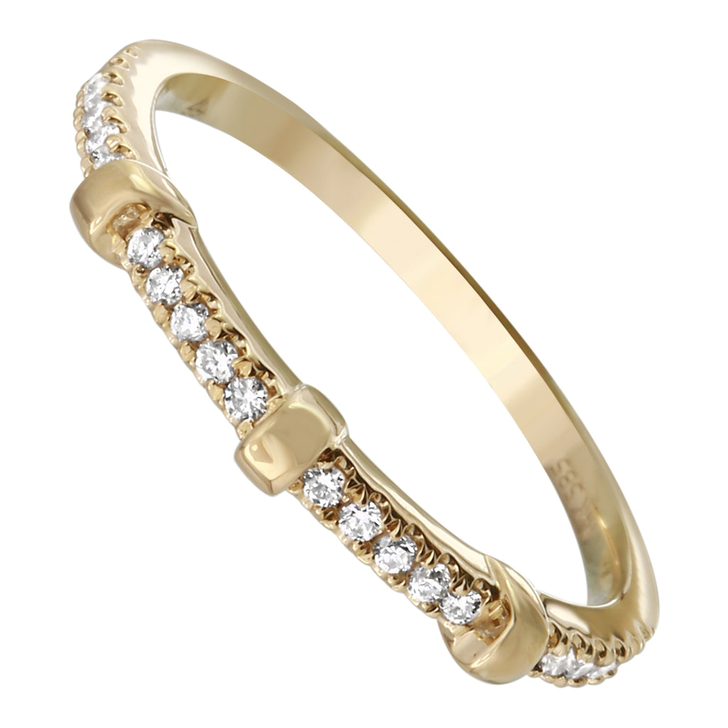 14k Yellow Gold Diamond Pave Block Segment Ring (1/10 cttw, H-I Color, I1-I2 Clarity)